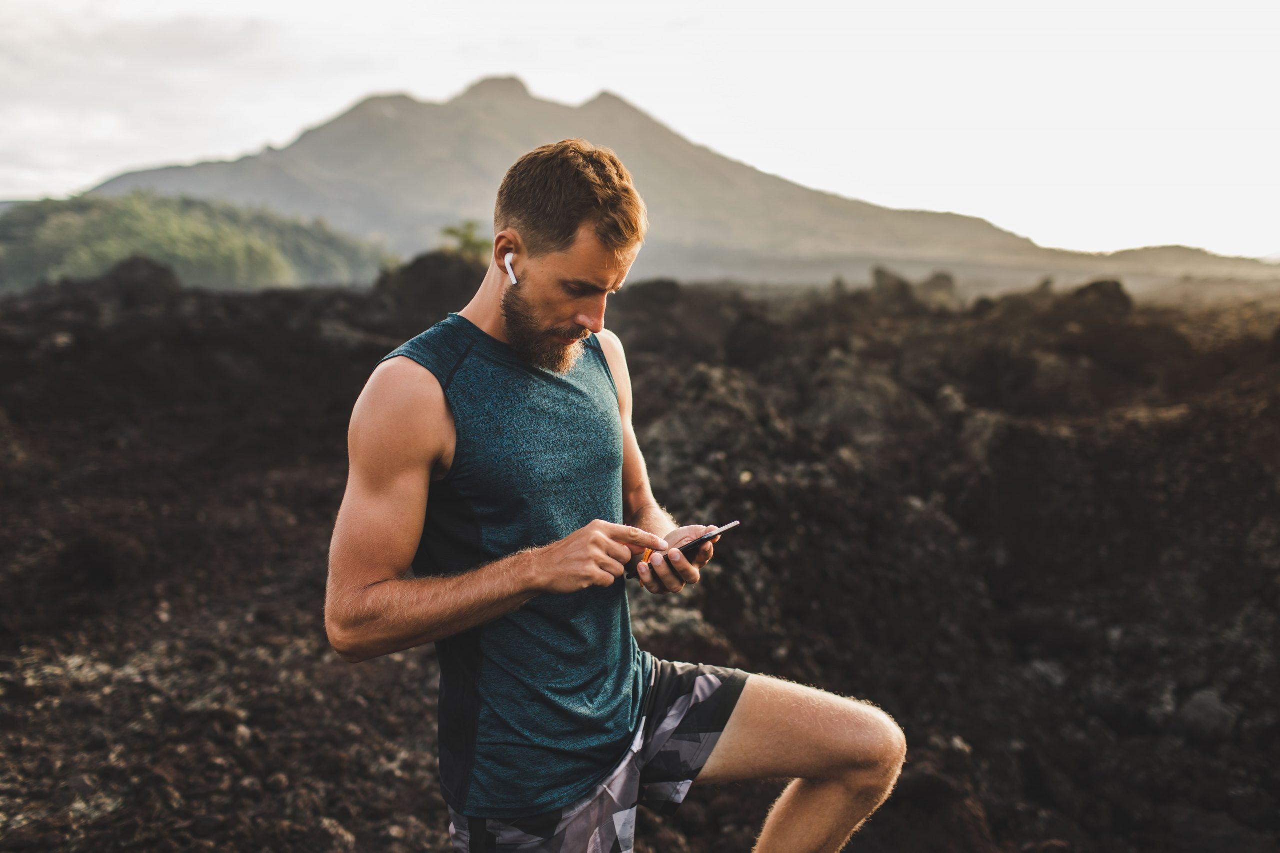 Läufer misst Laufstrecke per App