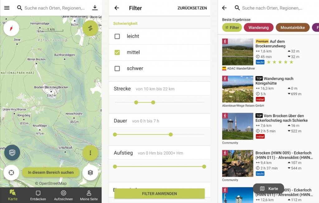 Ansicht der Outdooractive-App